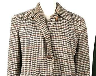 1950s women's Austrian coat/overcoat in brown houndstooth pattern