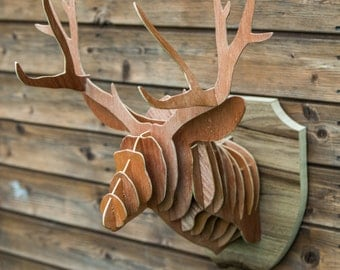 Handmade 3d stags head on shield