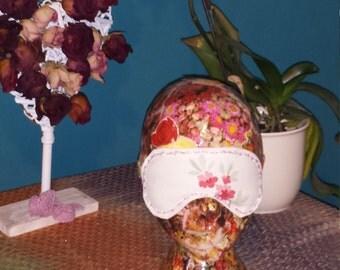 Pink floral decorated sleep eye mask