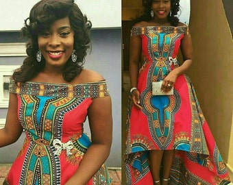 Dashiki Hi low dress. Other color options available.