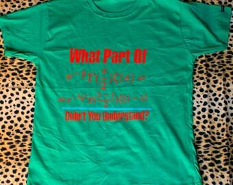 Science shirt, Maths Tshirt, Green Tshirt, Funny Shirt, Teacher's Clothing, Handpainted Cloth, Logo Design, Riemann Geometry, DIY Tshirt