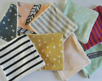 Lot of 10 organic cotton reusable 9x9cm, for cleansing or washing baby