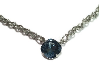12mm Crystal Single Stone Denim Necklace