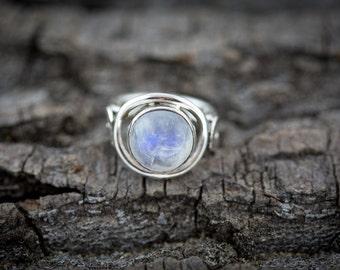 Striking Sterling Silver Rainbow Moonstone Ring - Handmade Ring