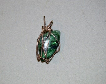 Green Mica Sterling Silver Wire Wrapped Pendant