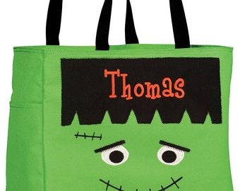 Halloween Sale. Personalized Halloween Trick or Treat Bags. Monogram Halloween Bag. Jack-O-Lantern Tote. Frankenstein Halloween Bag.