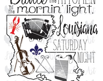 Louisiana Saturday Night, Cajun, cut file, clip art, SVG, DXF, Silhouette Cameo, Cricut, Scrapbook, Instruments, Crawfish, Fleur de lis