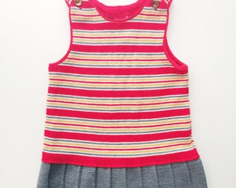 Vintage girls pleated striped dress size 4 4T toddler kids