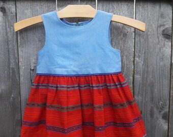 Little girls dress with Guatamalan fabric