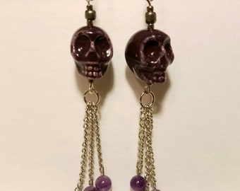 Purple Skull Chain Earring