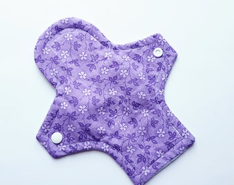 "8"" Purple Flowers Print Panty Liner - Light Flow"