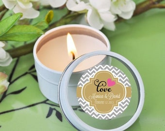 Personalized ROUND themed candle tins-candle favors, wedding candle favors, bridal shower favors, birthday favors, 50th birthday
