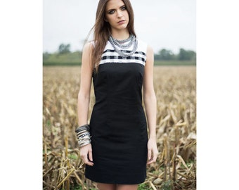 Black Dress, Black White Dress, HandMade Dress, Black Cocktail Dress, Elegant Dress, Party Dress, Summer Dress, Women Dress, Cotton Dress