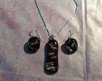 Dichroic Glass with Gold Dragonflys jewelry set. Pendant and earring set.