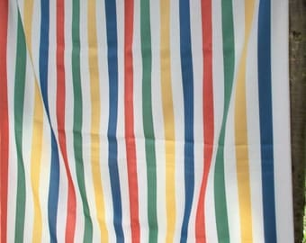 Cheerful Cottage Chic Vintage Striped Cotton Linen Fabric in Red, Yellow, White, Blue, and Green Shipping Included
