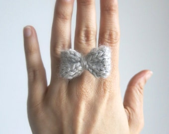 MINI BOW Ring Bow, Hand Knit Hair bow, Pin grey Bow, Clip Hair Accessory, Brooch Bow, Bow earrings, grey ring, gift under 10, ready to ship
