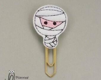 Halloween Mummy paperclip / planner clip, Mummy paper clip, Halloween mummy feltie, Halloween planner clip, cute mummy paper clip