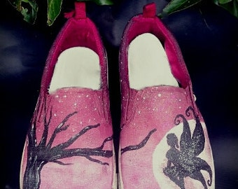 Moonlight Fairy Customised Painted Shoes