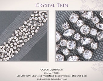 1 yard (3 feet) AUTHENTIC Swarovski Wedding Crystal Trim