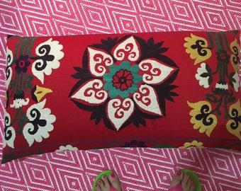 Suzani large bolster pillow--tree of life image