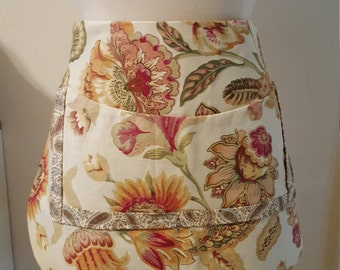 Floral and paisley apron with pocket