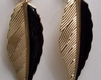 Black Acrylic/Gold-finished Steel Earrings