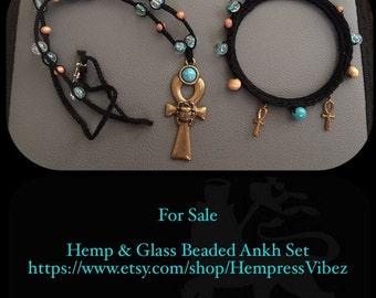 Goddess Glass Beaded Ankh Necklace Set
