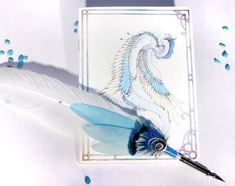 "Book and writing feathers ""ice wyvern"""