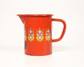 Red retro enamel jug-Vintage kitchen-Red milk jug