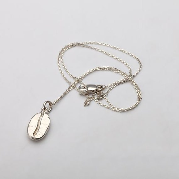 coffee bean necklace silver coffee bean pendant coffee