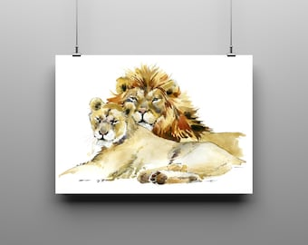 Art Print Watercolour Lion