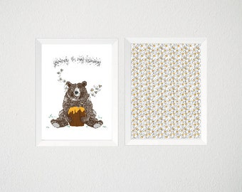 Yummy In My Tummy Baby Nursery Prints - Set of 2 hand drawn digital illustrations with frames