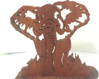 Beautiful handmade wooden scroll saw elephant mounted picture