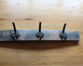 Hand Crafted Scotch Whisky Barrel Coat Hook Rack, made with 'The Underground' hooks. Made the way you want it!