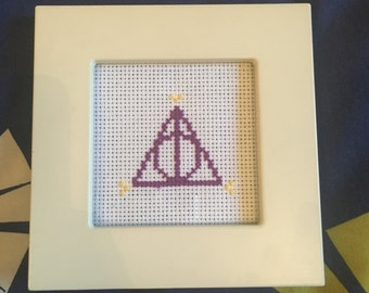 Harry potter deathly hallows cross stitch home decor nerdy geeky present gift