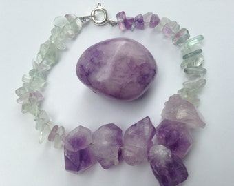 Fluorite and Amethyst Genuine Gemstone Bracelet