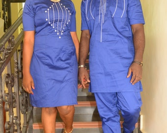 Pafric Designs Couple blue polish cotton with embroidery. African clothing