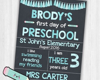 First Day of School Sign Chalkboard Back To School Sign | Printable Preschool Sign