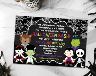 Birthday Halloween Invitation, Party Invitations, Printable Halloween Invitation, Birthday Invitations, Scary Halloween Invitations