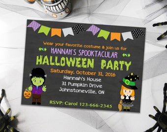 Halloween Invitations, Party Invitations, Kids Halloween Invitations, Halloween Party Invites, Printable Invitations for Halloween