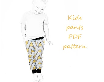 Kids pants pattern pdf, boys pants pattern, kids sewing patterns