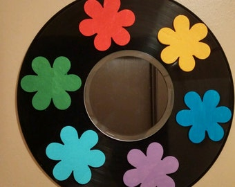 Fun Flowered Mirror made from Recycled Vinyl Record