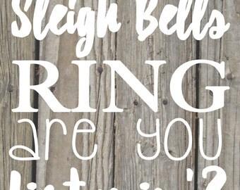 Sleigh bells ring wood background printable