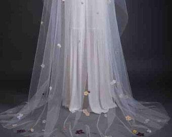 Springtime Chapel Length Veil - Long Veil - Wedding Veil - Custom Veil - Handmade Wedding Veil