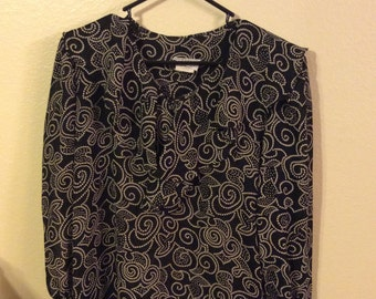 Vintage Black and White Tapestry Blouse