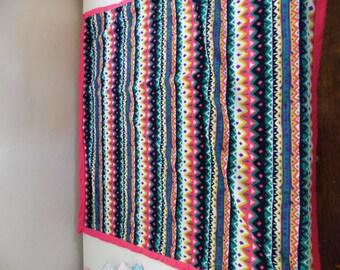 Hot Pink Aztec Minky baby blanket
