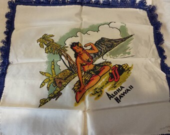Vintage Hawaii silk pillow case