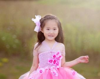 champagne Couture Flower Girl Dress, Pink Tutu Dress, Couture Tutu Dress