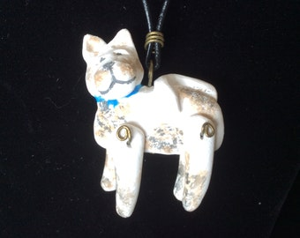 Necklace Whimisal Dog, Artist Created sculpted by hand, one of a kind,
