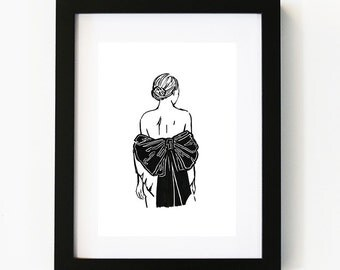 Little black dress Print, Illustration Art Print, Room decor, Gifts For Her, Wall Art, Poster
